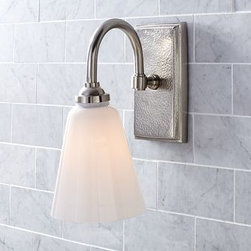 "Ella Hammered Metal Single, Set of 2 Sconce, Single, Set of 2, Vitnage Pewter fi - A rich rippled texture on the iron base adds visual interest to our beautifully crafted Ella sconce. It's accented with a mouth-blown milk-glass shade for a striking contrast. 5.5"" wide x 9"" deep x 11"" high Cast of brass and iron. Milk-glass shade. Ceramic socket. Damp UL-listed. Hardwire; professional installation recommended. View our {{link path='pages/popups/fb-bath.html' class='popup' width='480' height='300'}}Furniture Brochure{{/link}}."