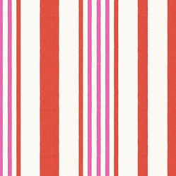 Pink, Orange & White Stripe Outdoor Fabric - White, coral red & bright pink outdoor stripe that's just hankering for those wide open spaces. Recover your chair. Upholster a wall. Create a framed piece of art. Sew your own home accent. Whatever your decorating project, Loom's gorgeous, designer fabrics by the yard are up to the challenge!