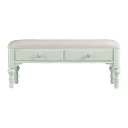 Stanley Furniture - Coastal Living Cottage Bed End Bench - Morning Sky Finish - When a settee is too much and a stool is too little, this cheery double-drawer bench fits the bill. Heavily padded upper seat makes soft work of lacing sneakers. Made to order in America.
