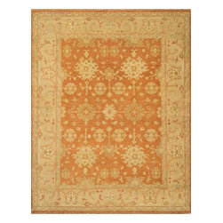 """Loloi Rugs - Loloi Rugs Vernon Collection - Auburn / Gold, 9'-6"""" x 13'-6"""" - The hand-knotted Vernon Collection is at once sophisticated and trendy. Made in India of 100-percent fine wool, Vernon's traditional designs are inspired by Turkish Oushaks. Note the meticulous antique finishing, which gives each rug in the collection a distinctive, Old-World patina. Vernon takes traditional rug fashions up a notch."""