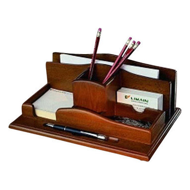 Proman - Renaissance Desktop Organizer, Light Walnut Finish. - Renaissance Desktop Organizer, elegant design with solid wood material. Light walnut finish. Elegant designed organizer for the desktop. Features felt lined compartments helps keep clutter off desk. Holds business cards, paper clips, pens & pencils ,letter opener , etc. Light Walnut Finish.