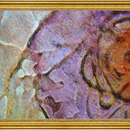 """Our Original Collection -18""""x24"""" Framed Canvas - 18"""" x 24"""" Our Original Collection  Orange Purple Flower Abstract framed premium canvas print reproduced to meet museum quality standards. Our museum quality canvas prints are produced using high-precision print technology for a more accurate reproduction printed on high quality canvas with fade-resistant, archival inks. Our progressive business model allows us to offer works of art to you at the best wholesale pricing, significantly less than art gallery prices, affordable to all. This artwork is hand stretched onto wooden stretcher bars, then mounted into our 3"""" wide gold finish frame with black panel by one of our expert framers. Our framed canvas print comes with hardware, ready to hang on your wall.  We present a comprehensive collection of exceptional canvas art reproductions by Our Original Collection ."""