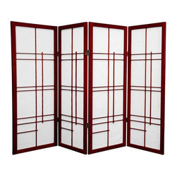 Oriental Furniture - 4 ft. Tall Eudes Shoji Screen - Rosewood - 4 Panels - This graceful four foot tall folding Japanese Shoji screen features an avant-garde wooden lattice. The supple spruce frame and translucent washi paper panels are elegantly light and delightfully airy, making it the perfect choice for adding a decorative accent, dividing a room, or hiding the space beneath a table or desk.