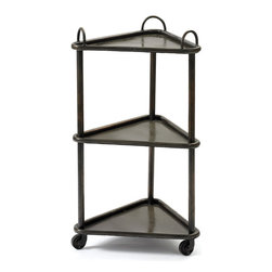 Go Home - Go Home Triangle Trolley - Serve your meals on triangle trolley. This trolley is designed with wheels and triangle shape trolley Cart. Crafted with quality metal polished with black color suits every kind of decor. You can use this trolley for serving the morning tea, meals and snacks etc. This trolley can effectively make you serve without any accidental harm to you. This trolley is best suitable for the cocktail parties organized at your home. This will reduce your effort in servicing your guests. This can be stored in any corner of your place. This will help you manage your Knicks knacks as well like newspaper, magazine etc.