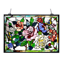 None - Floral Design Glass Bronze Window Panel - This floral design glass panel features rich hues of green,blue,pink,red and yellow. A brilliant accent to your living space,this window panel features a bronze finish and arrives with mounting hardware.