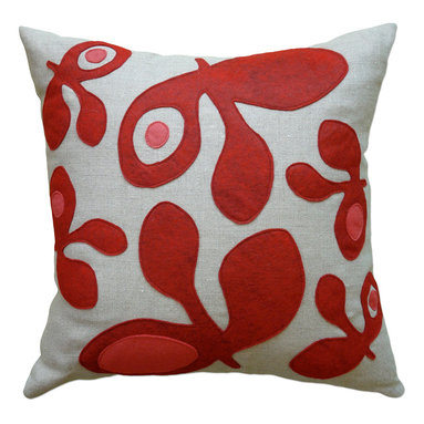 Balanced Design - Felt Appliqué Linen Pillow - Pod, Red/Strawberry, 22x22 - Felt appliqué designs make a bold statement on this soft linen pillow. It's perfect for adding a burst of color and pattern to your home while also supporting hand-crafted work in the United States. Each pillow is sewn in Massachusetts and filled with fiber made from recycled plastic bottles. You can't go wrong with this ecofriendly design.