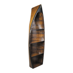 "Inviting Home - Bosun Gig Boat Bookcase - Bosun Gigboat bookcase 27"" x 12"" x 73""H Dispatched for victuals for the captain�s table or canvas for a sail blown away in a storm gigs were invaluable when in port or moored outside. Referred to as rowboats by land-bound folk a gig was easy to lower overboard needed minimum crew and was quick to dispatch. When stowed it nested in the long boat or pilot boat secured in the center of the main deck. Our lapstrake (overlapping strips of wood) gigs are not seaworthy but they most certainly look like it! Clinker build gig boat adds flair and atmosphere to any room and display shelves turn them into fun cabinets and bookcases."