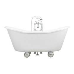 The Tub Studio - Leonello White Acrylic French Bateau Tub With Duomo Feet - Product Details