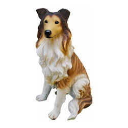EttansPalace - Collie Dog Statue Sculpture - Our amazingly life-like Long-Haired Collie dog sculpture has neither a bark nor a bite worth worrying over! Whether staking out your garden or guarding your TV remote, our Long-Haired Collie dog figurine will add adorable character and canine charm to home or garden. This quality designer resin exclusive is hand-painted with realistic markings that'll make garden guests do a double-take. Our Long-Haired Collie dog statue is for the discriminating dog lover and makes the perfect gift for any canine aficionado.