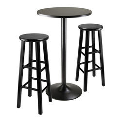 "Winsome Wood - Winsome Wood Obsidian 3 Piece Round Pub Set w/ Square Leg Stools in Black - 3 Piece Round Pub Set w/ Square Leg Stools in Black belongs to Obsidian Collection by Winsome Wood 3pc Set comes with sleek and stylish all black Pub Table and two assembled 29"" black square legs stool. Round Table Top is veneer in black on composite wood with metal black coating for base. Table size 23.66"" round by 39.76"" high. Easy Assembly. Each Stool is 13.60""W x 13.60""D x 29.10""H Assembled. Pub Table (1), Barstool (2)"