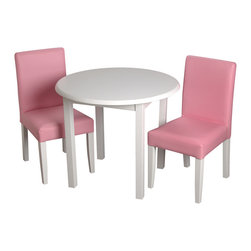 Gift Mark - Gift Mark Childrens White Round Table with 2 Pink Upholstered chairs - The Gift Mark round white stained table and 2 matching completely upholstered pink chair sets. The table is made of solid wood. These durable table and upholstered chairs will add a touch of sophistication to any child's room or play room. Intended specifically for your child. Children play for hours on end. Our solid wood table and chair sets clean easily with any high quality furniture polish. All materials are bpa free and phthalate free. All tools are included for easy assembly.