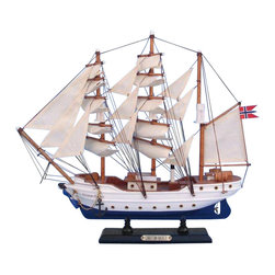 """Handcrafted Nautical Decor - Christian Radich 14"""" - Wooden Tall Ship - Sold fully assembled"""