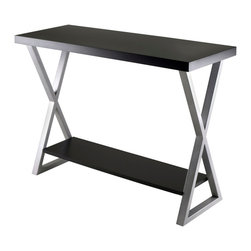 "Winsome Wood - Winsome Wood Korsa Console Table w/ Black Finish - Console Table w/ Black Finish belongs to Korsa Collection by Winsome Wood Korsa Table Collection adds a special look to your living room. Table comes with Veneer Top in Black and X shape metal legs in Metallique Gray Finish. This console table assembled size is 41.97""W x 15.75""D x 30.31""H. Shelf dimension 35.67""W x 9.65""D. Clearance from top to shelf is 23.03"". Assembly Require. Console Table (1)"