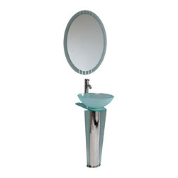 "Fresca - Fresca Vitale Glass Vanity w/ Mirror - Dimensions of vanity:  16.5""W x 20.38""D x 34.38""H. Dimensions of mirror:  23.63""W x 27.5""H. Materials:  Tempered glass vessel sink, stainless steel. Single hole vessel faucet mount. P-trap, faucet, pop-up drain and installation hardware included. This simply constructed jewel tone chrome stand and gently sloping tall clear glass basin are ideal for simple living with a touch of class and modern charm.  Versatile for any decor.  Quietly interesting and chic without being disruptive.  Comes with matching frosted edge mirror."