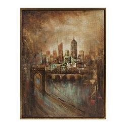 """IMAX - Skyline Cityscape Framed Oil Painting - The twinkling lights of the city at night, the hustle and bustle of city streets add an excitement in which you can truly feel in this painting. Item Dimensions: (30""""h x 40""""w x 1.5"""")"""
