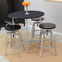 Carolina Chair and Table Co. - Round Fletcher Bar Table - Black - 56363BLKSLV - Shop for Bar and Pub Tables from Hayneedle.com! The Round Fletcher Bar Table Black is a sleek contemporary piece ideal for your dining space. The silver metal constructed frame of this table durably supports a wooden table top that is finished in black. Complete the look of your dining space by accenting this table with colorful table top accessories and matching bar stools.About Carolina Chair and TableCarolina Chair and Table prides itself on supplying consumers with classic casual and chic designs that are functional and practical. Carolina Chair and Table manufactures a beautiful selection of occasional tables stools and other occasional furniture made by hand from 100 percent solid wood and focused on today's casual lifestyles. This well-constructed furniture offers many style color and finish choices. Each piece is an interpretation of classic designs that have endured the test of time designed to complement every room of your home.
