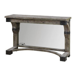 Carolyn Kinder - Carolyn Kinder Nelo Console Table X-51342 - Weathered, Solid Fir Wood With An Aged Gray Wash And Rustic Black Accents, This Table Offers Added Dimension With A Built In, Mirrored Backdrop. Matching Mirror Is Item #07646.