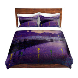 DiaNoche Designs - Duvet Cover Twill - Purple Mist Ha Penny Bridge - Lightweight and super soft brushed twill Duvet Cover sizes Twin, Queen, King.  This duvet is designed to wash upon arrival for maximum softness.   Each duvet starts by looming the fabric and cutting to the size ordered.  The Image is printed and your Duvet Cover is meticulously sewn together with ties in each corner and a concealed zip closure.  All in the USA!!  Poly top with a Cotton Poly underside.  Dye Sublimation printing permanently adheres the ink to the material for long life and durability. Printed top, cream colored bottom, Machine Washable, Product may vary slightly from image.