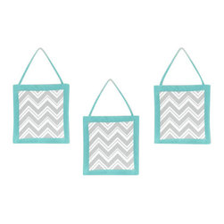Sweet Jojo Designs - Zig Zag Turquoise and Gray 3-Piece Wall Dcor by Sweet Jojo Designs - The Zig Zag Turquoise and Gray 3-Piece Wall Dcor by Sweet Jojo Designs, along with the  bedding accessories.