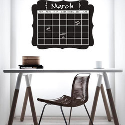 Lacy Bella Designs - Chalkboard Calendar, Dark Gray - This chalkboard design will agree and improve any kitchen or home office and help your household become organized. Place it on a fridge, or over the desk in the office and you have a convenient way to keep all the chores, activities or schedules in plan view and organized.