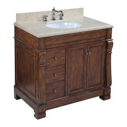 Kitchen Bath Collection - Westminster 36-in Bath Vanity (Travertine/Brown) - This bathroom vanity set by Kitchen Bath Collection includes a brown cabinet with soft-close drawers, travertine countertop with stunning beveled edges, undermount ceramic sink, pop-up drain, and P-trap. The countertop is an incredible 1.5 inches thick at the edge!  Order now and we will include the pictured three-hole faucet and a matching backsplash as a free gift! All vanities come fully assembled by the manufacturer, with countertop & sink pre-installed.
