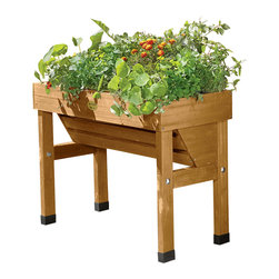 VegTrug - Wallhugger VegTrug 40x18, Natural, Add Conventional Soil Mix - Place the Wallhugger VegTrug along a fence or wall to create a tidy and convenient vegetable growing area in a very small space. It's deeper at the back for large plants like tomatoes, and shallower in front for greens, herbs and other small plants. Grow plants at an easy working height; no bending or kneeling to plant, tend and harvest. The elevated bed means no weeds and fewer pests, too. Great for apartment or condo dwellers with limited space   and you can take it with you if you move! Includes a fitted fabric liner to keep soil contained while letting excess water drain. Plastic feet protect wood from wet surfaces. Quality construction and easy assembly.