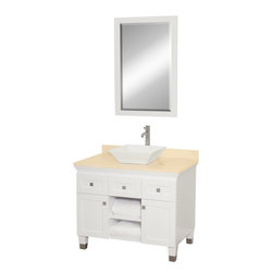 "Wyndham Collection - Wyndham Collection 36"" Premiere White Single Sink Vanity w/ Ivory Marble Top - A bridge between traditional and modern design, and part of the Wyndham Collection Designer Series by Christopher Grubb, the Premiere Single Vanity is at home in almost every bathroom decor, blending the simple lines of modern design like vessel sinks and brushed chrome hardware with transitional elements like shaker doors, resulting in a timeless piece of bathroom furniture."