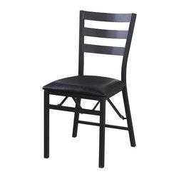 Linon - Linon Arista Upholstered Vinyl Folding Chair in Black (Set of 2) - Linon - Folding Chairs - 43057MTL02ASU
