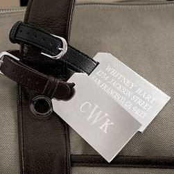 """Silver-Plated Engravable Luggage Tag, Personalized, Black - Personalization and a high-quality, silver-plated finish elevate everyday luggage tags to a new level. 3"""" wide x 1.5"""" high Detailed with an espresso or a black leather strap. Monogramming is available at an additional charge. Monogram will be centered on the tag, or tag can be monogrammed with up to 20 characters per line."""