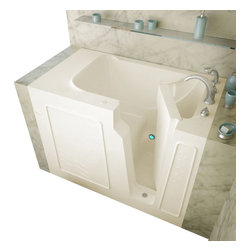 Spa World Corp - Meditub 29x52 Left Drain Biscuit Soaking Walk-In Bathtub - Meditub's walk-in bathtub offers safety and independence in an elegant package. Featuring safety features such as a built in color matched grab bar, non-slip floor texture and a wide swinging door for easy entering and exiting of the tub. Fusing the industry�s highest standards for quality construction with an inspired artistic vision offering a beautifully glossy finish reinforced with a stainless steel frame and 6 adjustable legs for leveling. Also included is an ADA compliant contoured seat for comfortable support.