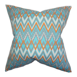 """The Pillow Collection - Forsythia Geometric Pillow Blue 18"""" x 18"""" - Featuring a gorgeous and bold geometric pattern, this throw pillow is the easiest way to bring life to your home. This 18"""" pillow offers an eccentric detail in shades of aqua, white and orange. This accent pillow is the perfect accessory to complete your decor style. Easy to mix and match with solids and other patterns. Hidden zipper closure for easy cover removal.  Knife edge finish on all four sides.  Reversible pillow with the same fabric on the back side.  Spot cleaning suggested."""