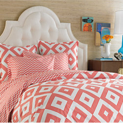 Gio Duvet Cover - Coral is a brave feminine color; I promise, there's nothing weak about it. Combine it with a bold pattern, and you have Jonathan Adler jumping up and down.