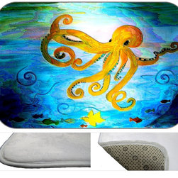 Octopus Gone Yellow Plush Bath Mat, 30X20 - Bath mats from my original art and designs. Super soft plush fabric with a non skid backing. Eco friendly water base dyes that will not fade or alter the texture of the fabric. Washable 100 % polyester and mold resistant. Great for the bath room or anywhere in the home. At 1/2 inch thick our mats are softer and more plush than the typical comfort mats.Your toes will love you.