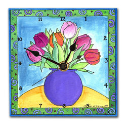 Tulips Wall Clock - If you've never seen our clocks before your eyes will fool you. They look exactly like a tile, but pick one up and you'll be amazed. They are so light you can hang them on a push pin and unlike ceramic clocks, will never crack or break.