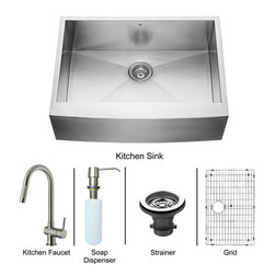 "Vigo - All in One 30"" Farmhouse Stainless Steel Kitchen Sink and Faucet Set - Enhance the look of your kitchen with a VIGO All in One Kitchen Set featuring a 30"" Farmhouse - Apron Front kitchen sink, faucet, soap dispenser, matching bottom grid and sink strainer.; This single bowl sink is manufactured with 16 gauge premium 304 Series stainless steel construction with commercial grade premium scratch resistant satin finish; Fully undercoated and padded with a unique multi layer sound eliminating technology, which also prevents condensation.; All VIGO kitchen sinks are warranted against rust; Distinctive angular zero radius corner design with rear standard 3 1/2"" drain placement; Exterior dimensions: 30"" W x 22 1/4"" D; Interior dimensions: 28"" W x 18"" D, Depth: 9 7/8""; Required interior cabinet space: 30""; Kitchen sink is cUPC and NSF-61 certified by IAPMO; Sink model: VG3020C; Features single function pull-out faucet head with power stream, and is made of solid brass with a stainless steel finish.; Includes an aerator that resists mineral buildup and is easy-to-clean; High-quality ceramic disc cartridge; Retractable 360-degree swivel spout expandable up to 30""; Single lever water and temperature control; All mounting hardware and hot/cold waterlines are included; Water pressure tested for industry standard, 2.2 GPM Flow Rate; Standard US plumbing 3/8"" connections; Faucet height: 17""; Spout reach: 7 7/8""; Kitchen faucet is cUPC, NSF-61, and AB1953 certified by IAPMO.; Faucet is ADA Compliant; 2-hole installation with soap dispenser; Faucet model: VG02008ST; Soap dispenser is solid brass with an elegant stainless steel finish and fits 1 1/2"" opening with a 3 1/2"" spout projection.; Matching bottom grid is chrome-plated stainless steel with vinyl feet and protective bumpers.; Sink strainer is made of durable solid brass in chrome finish; All VIGO kitchen sinks and faucets have a Limited Lifetime Warranty"