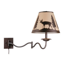 Vaxcel Lighting - Vaxcel Lighting Bryce Traditional Swing Arm Wall Lamp X-ZBB21455LW - Bring the spirit and beauty of the outdoors into your home with this swing arm wall sconce. For his sconce the printed wildlife shade is the focal point while the burnished bronze finish brings in the color of trees to complete the theme. This sconce is a great addition to the home of any outdoorsman or animal lover.