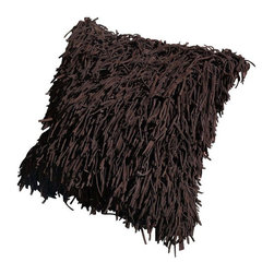 Pre-owned Leather Fringe Pillow - Fringe will forever be groovy, baby. This brown leather shag fringe pillow will look lovely on any sofa or accent chair.