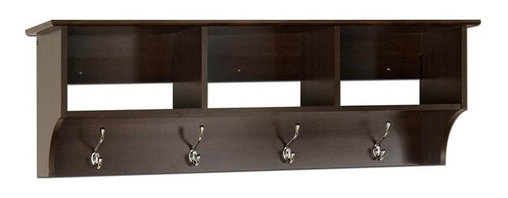 Prepac - Entryway Wall-Mount Coat Rack With 3 Cubbies - Includes easy to install two-piece hanging rail system. Warranty: Five years. Made from CARB-compliant, laminated composite woods. Made in North America . Assembly required. Internal: 14.25 in. W x 10 in. D x 8.75 in. H. Overall: 48 in. W x 11.5 in. D x 16.5 in. HKeep your gloves, hats, coats and jackets together where you need them with the Entryway Cubbie Shelf. Perfect for any front hallway, mudroom or home office, its three compartments have room for everything from mittens to schoolbooks. Four large hooks provide sturdy storage for your outerwear, scarves and tote bags. Install it easily with our innovative hanging rail system and get the versatile entryway piece you've been missing.