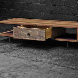 Elton Low Coffee Table | Reclaimed Wood - A beautiful collection of sustainable furniture that is hand-crafted from exotic demolition hardwoods such as salvaged wood from downed telephone poles and from 100-year-old flooring as well as white oak and black walnut.