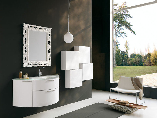 Modern Bathroom Vanities And Sink Consoles Archeda 5 Curved Vanity With Mirror