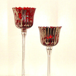 Consigned Murano Red Silver Aventurine Glass Candle Holder - Pair Of Mid Century Murano Vintage Red Silver Aventurine Art Glass Candle Holders Two 2