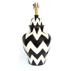 "Zigzag Lamp, Black/White, 10"" X 18"" - The tibor — or ginger jar — is a staple of traditional Mexican decor. Here, it's given a bold zigzag pattern and transformed into a table lamp to bring fiesta flair to your favorite casual setting."