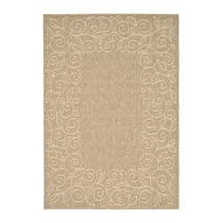 Safavieh - Polypropylene Rug in Coffee (5 ft. x 2 ft. 7 in.) - Size: 5 ft. x 2 ft. 7 in. Synthetic fiber. Machine made weave. Power loomed construction. Transitional sand colored design. Made in Belgium. Safavieh takes classic beauty outside of the home with the launch of their Collection. These rugs are suitable for anywhere inside or outside of the house. To achieve more intricate and elaborate details in the designs, Safavieh used a specially-developed sisal weave. Care Instructions: Vacuum regularly. Brushless attachment is recommended. Avoid direct and continuous exposure to sunlight. Do not pull loose ends; clip them with scissors to remove. Remove spills immediately; blot with clean cloth by pressing firmly around the spill to absorb as much as possible. For hard-to-remove stains professional rug cleaning is recommended.