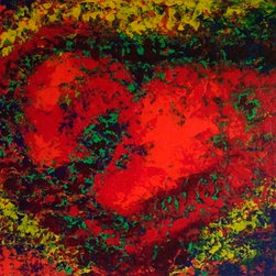 Breaking Beauty - The colors in this painting are textural and bright. The red heart  is surrounded by blues, greens, yellows and oranges giving the look that the heart is breaking apart. I use acrylic paint to give it  a heavy textured look.
