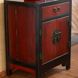 Horchow - Antique Red & Black Side Cabinet - Antique side chest is painted in a beautifully contrasting red and black finish with antiqued-brass hardware. Approximately 100-120 years old. From northern China's Shanxi province. One drawer and two doors. Made of elm and oak wood with brass hardw...
