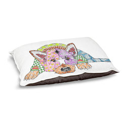 "DiaNoche Designs - Dog Pet Bed Fleece - German Shepard Dog - DiaNoche Designs works with artists from around the world to bring unique, designer products to decorate all aspects of your home.  Our artistic Pet Beds will be the talk of every guest to visit your home!  BARK! BARK! BARK!  MEOW...  Meow...  Reallly means, ""Hey everybody!  Look at my cool bed!""  Our Pet Beds are topped with a snuggly fuzzy coral fleece and a durable underside material.  Machine Wash upon arrival for maximum softness.  MADE IN THE USA."