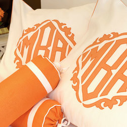 Alcott French Cases - Leontine Linens gives a classic style added flair in bright orange. I just love this monogram.