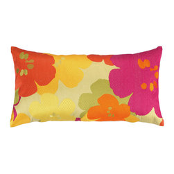 """Trina Turk - Trina Turk Floral Orange Embroidered Pillow - Layers of bold blooms give the Floral throw pillow a vintage look while an oversize design offers modern appeal. Embroidered in bright orange, pink and yellow, this decorative pillow delivers a fun vibe to a contemporary room. 26""""W x 14""""H; 100% linen pillow with embroidered detail; Down fill insert included; Hidden zipper; Dry clean only"""