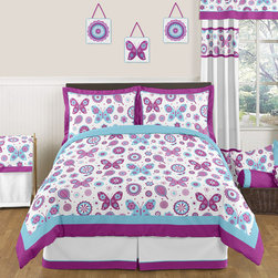 Sweet Jojo Designs - Sweet Jojo Designs Spring Garden 3-piece Full/Queen Comforter Set - The charming 3-piece garden full/queen bedding collection will create a fresh springtime look for your room. This bright and cheerful designer girl bedding set uses a sensational collection of Sweet Jojo Designs exclusive brushed microfiber fabrics.