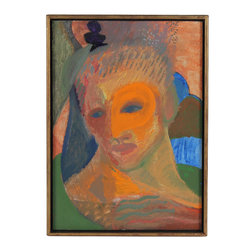 Lost Art Salon - 1986 Original Abstracted Acrylic Framed Portrait by Michael di Cosola - Soulful and vibrant, this 1986 acrylic on masonite portrait by San Francisco artist Michael di Cosola will add intrigue and brilliancy to your wall. This stunning abstracted painting comes in a warm gold-leafed frame to give the artwork an ultra-modern feel.